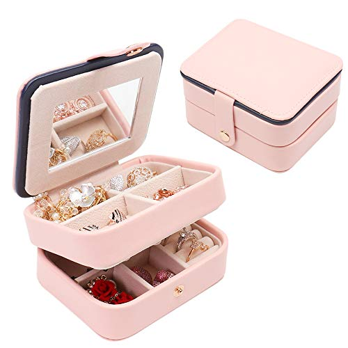 ELFTUNE Small Travel Jewelry Box Organizer Portable Jewelry, Earring Holder and Ring Storage Case for Travel with Premium Velvet Lining (Pink)