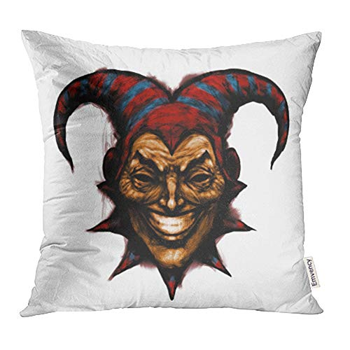 Emvency Decorative Throw Pillow Case Cushion Cover Laughing Angry Joker Character Head Face Horror and Crazy Maniac Evil Smiling on The 20x20 Inch Cases Square Pillowcases Covers Two Sides Print]()