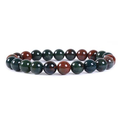 Natural Green Bloodstone Heliotrope Gemstone 8mm Round Beads Stretch Bracelet