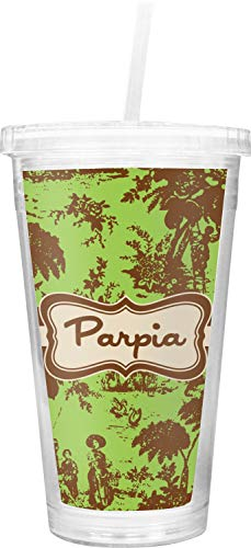 (Green & Brown Toile Double Wall Tumbler with Straw (Personalized))