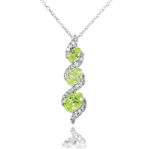 Ice Gems Sterling Silver Simulated Peridot and Cubic Zirconia Oval S Design Three-Stone Journey Necklace