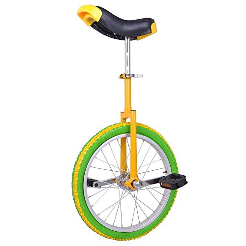 18'' Wheel Adjustable Height Unicycle Balance Exercise Yellow & Green w/ Removable Poly-nylon Guarded Rails by FDInspiration