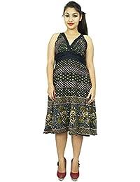 Black Dress Spaghetti Strap Cotton Tunic Geometric Print Women Sundress