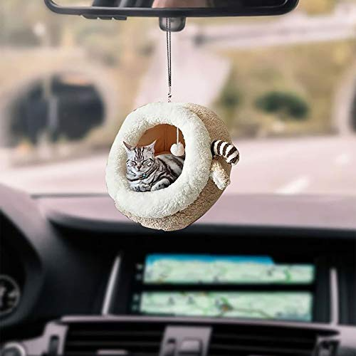 Car Ornament Meditation Hanging Ornament Cat Car Hanging Ornament Handmade Car Ornament for Car (Style C)
