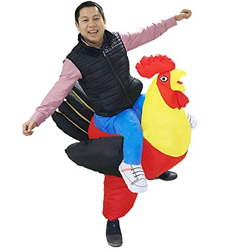 Inflatable Ride On Cock Costume Red Rooster Chicken Cosplay]()