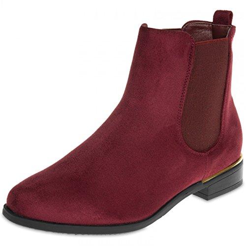 CASPAR SBO054 Women Vintage Chelsea Boots Wine Red kzzGG