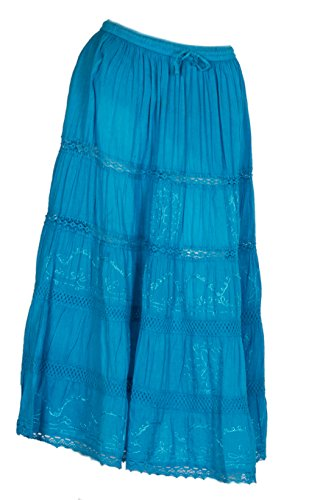 JOTW Indian Long Skirts with Solid Embroidered Design (Lad- #151) (Turquoise) by JOTW