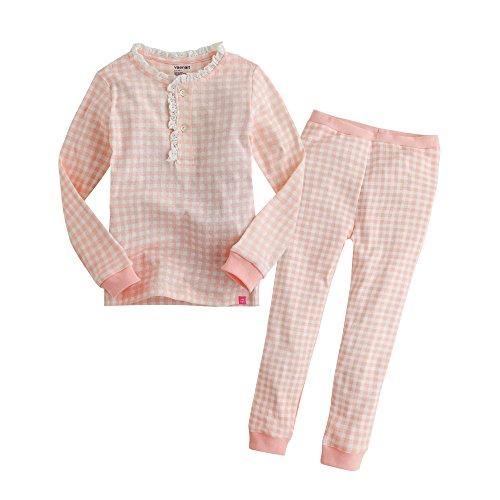 (Vaenait baby Infant Girls 2pcs Long Sleeve Pajama Sleepwear Set Long Lacy Pink)