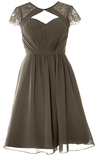 Bridesmaid Gown Elegant Formal Pewter Short Party Cap Dress Wedding MACloth Sleeves U1Cnq6x6I