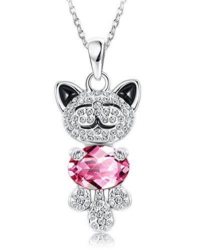 Pendant Lucky Cat - Sllaiss Lucky Cat Necklace Women Pendant Necklace Made Swarovski Crystals Cute Animal Jewelry Girls
