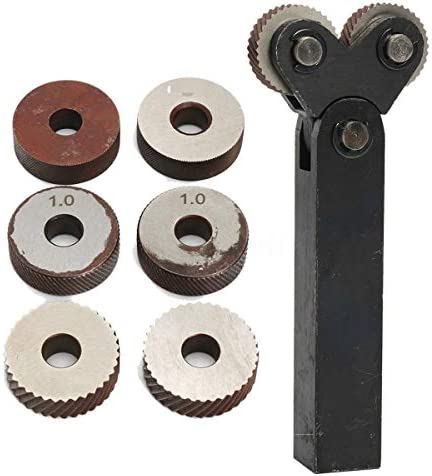 NO LOGO Rändelwerkzeug Set 7pcs Stahl Dual-Rad-Rändel-Werkzeug-Set mit Diagonal Linear Rändelrad 1.2/2.5/3.0 mm Pitch Linear Pitch Knurl Set Lathe Cutter Heben