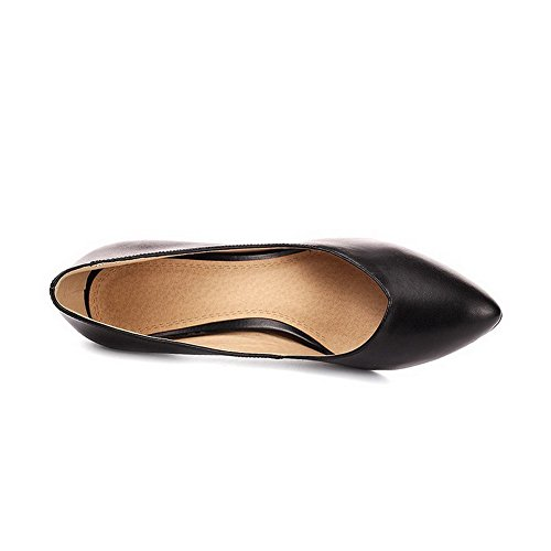 Amoonyfashion Mujeres Soft Material Cerrado Puntas Del Dedo Del Pie Stilettos Pull On Pumps-Zapatos Negro