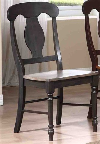 Iconic Furniture Napoleon Back Dining Chair Wood Seat44; Grey Stone U0026 Black  Stone   Pack