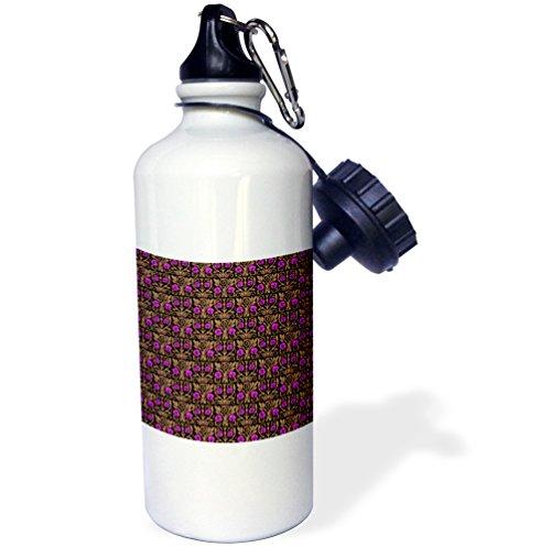3dRose Russ Billington Patterns - Magenta and Brown Glasgow Rose Pattern - 21 oz Sports Water Bottle (wb_238866_1)