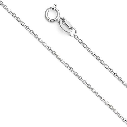 14k White Gold SOLID 1mm Side Diamond Cut Rolo Cable Chain Necklace with Spring Ring Clasp - 16