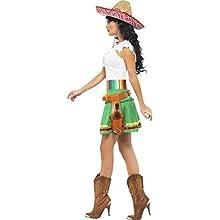 Smiffy's-29132XS Miffy Disfraz de tiradora de Tequila, con Vestido, Rayas y cinturón con Funda de Pistolas, Color Verde, XS-EU Tamaño 32-34 (29132XS)