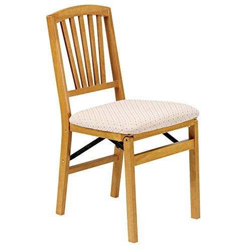 Stakmore Slat-Back Wood Folding Chairs w/ Upholstered Seats - Set of - Slat Chair Upholstered Back