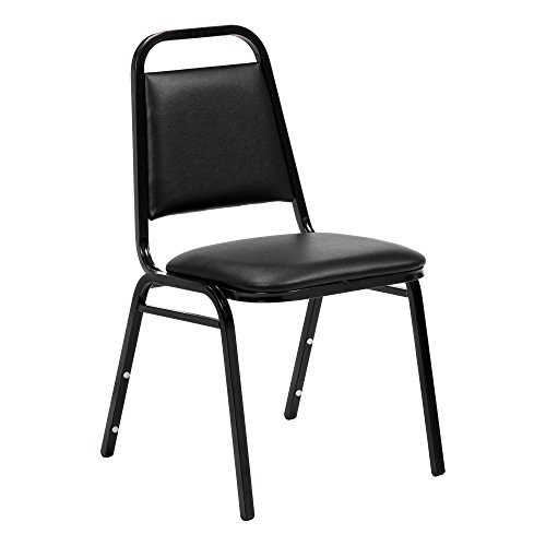 150 Furniture (Norwood Commercial Furniture 150 Series Stack Chair, Black Vinyl, NCFSC1BLBLV (Pack of 4))