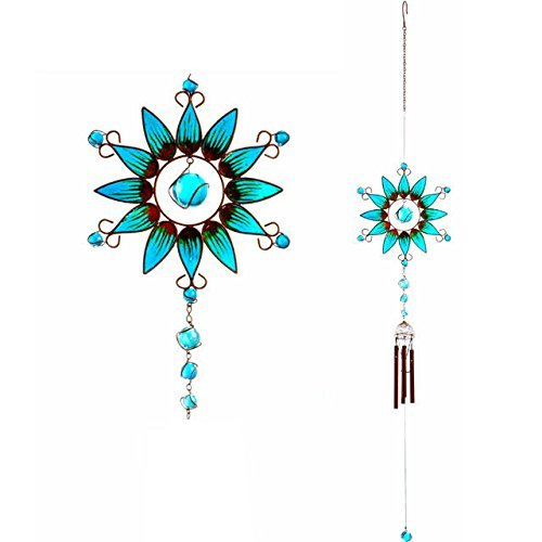 Windchime Colourful Hand Crafted Blue Spray Wind Chime With Glass Bead Detail