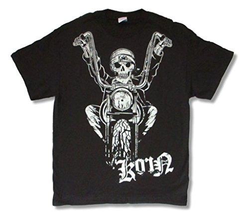 Korn Easy Rider 2006 Tour Motorcycle Skeleton Black T Shirt Adult (L) (Printed Korn T-shirts)