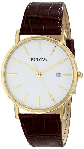 Bulova Men's 97B100 Gold-Tone Stainless Steel Watch With - Bulova Mens Leather Wrist Watch