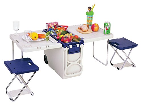 Multi-Function Insulated Rolling Cooler Table with 2 BONUS Foldable Stool (Cooler Table)