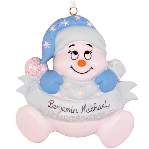 Personalized Baby's First Christmas Boy Snowman Ornament