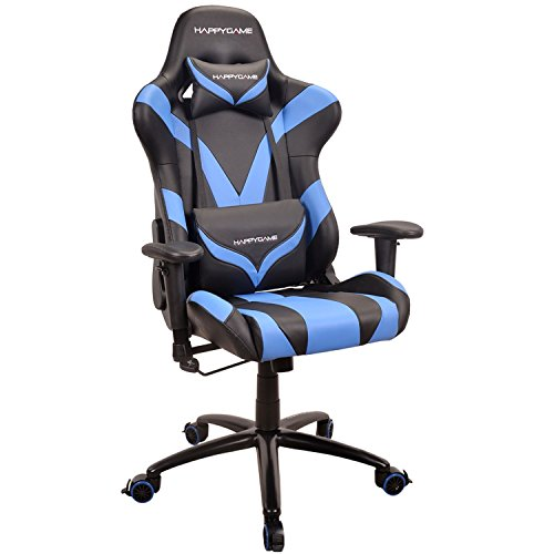 HAPPYGAME Racing Gaming Chair Ergonomic High-Back PU Leather Office Swivel Chair Oversized Computer Desk Chairs with Headrest and Lumbar Support, Blue