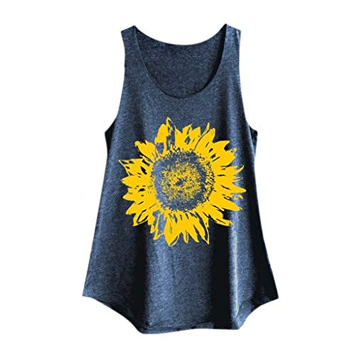 Tank Tops for Womens, FORUU Sunflower Printed Vest Casual Loose Pullover Tunic Crop Camisole 2019 Teens Stylish Under 15 Dollars Best Gift for Lover Summer Beach Party Holiday