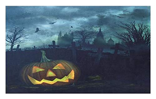 (Lunarable Halloween Doormat, Halloween Pumpkin in Spooky Graveyard Eerie Gloomy Stormy Atmosphere, Decorative Polyester Floor Mat with Non-Skid Backing, 30 W X 18 L Inches, Petrol Blue)
