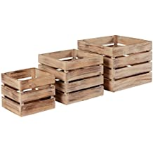Stone & Beam Antique Metal Wood Bins, Pack of 3, Antique White