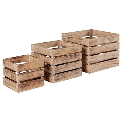 Stone & Beam Farmhouse Antique Wood Storage Basket Bins - Set of 3, Antique Whitewash