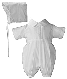 Boys Polycotton Christening Baptism Romper with Pin Tucking and Hat, 06