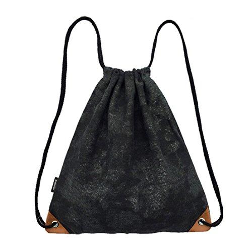 Canvas Drawstring Back Sack (SAMGOO Lightweight Canvas Drawstring Backpack Bags Sackpack Cinch Gym Sack Sport Bag With PU Inside Pocket (Coated black))