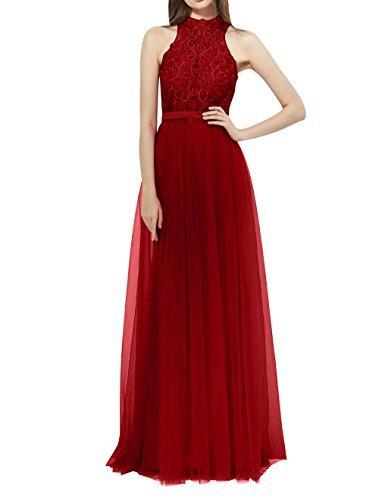 La_mia Brau Neckholder Spitze Aermellos Abendkleider Ballkleider Brautmutterkleider Abschlussballkleider Lang Dunkel Rot DvD74xp