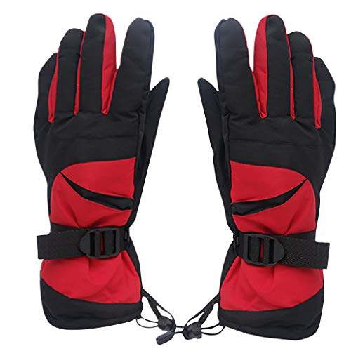 Fine Waterproof Winter Gloves, Warm Snow Sports Water-Splashing Anti-Skid Outdoor Gloves,Great for Ice Fishing, Skiing, Sledding, Snowboard - for Men or Women (Red) (Skids Ski Gloves)