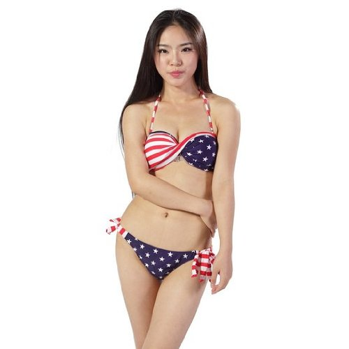 Strapless Padded Twisted Tie Side Bikini Swimsuit (S(US2-4))