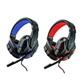 Vinmax Professional PC Gaming Bass Stereo Headset Headphones Earphones Headband with Noise Isolation Microphone for PS4 Xbox One S PC Work TV Computer (Red)