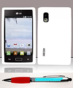 Accessory Factory(TM) Bundle (the item, 2in1 Stylus Point Pen) For LG Optimus Extreme L40g (StraightTalk Net 10) Silicon Skin Case - White SC Soft Silicone Jelly Rubber Phone Protector Cover
