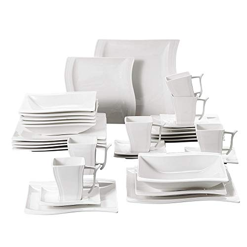 Malacasa 30-Piece Porcelain Square Dinnerware Plates Set with Plates and Bowls Dinner Soup Dessert Plates Cups Plates Saucers Dishes Dinnerware Set Service for 6, White, Series Flora