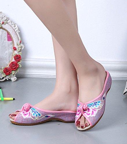 Pantofole Da Donna Casual Avacostume Con Peep-toe Rosa