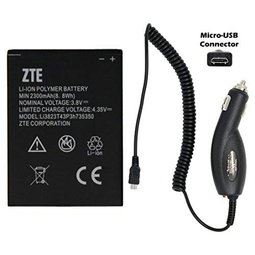 Oem Retail Package - NEW ZTE Li3823T43P3H735350 Battery 2300mAh for ZTE N986 N9835 GRAND X V975 U988S Q801U MF64 Z64 Z826 with Universal Micro-USB Car Charger - 100% OEM - in Non-retail Package (USA Seller)