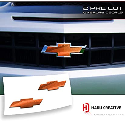Front Hood Grille Tailgate Bumper Trunk Bowtie Emblem Overlay Vinyl Decal Compatible Fits Chevy Chevrolet Camaro 2010-2013 Haru Creative Chrome Green