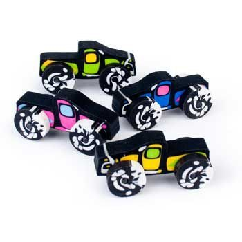 Fun Express - Monster Truck Erasers, (2 Inches by 1 Inches) (Assorted Colors),(12 Pack) -
