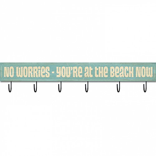 NO WORRIES - YOU'RE AT THE BEACH Wood 42x5 Box Sign/Hanger by Sixtrees -