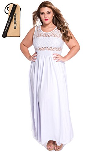 77bee8c8476 Galleon - Pyramid Top Women s Plus Size Floral Lace Top High Slit Maxi Long  Cocktail Dress (xxl