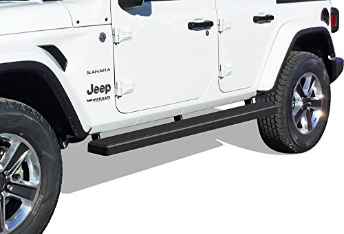 - APS iBoard Running Boards (Nerf Bars | Side Steps | Step Bars) for 2018-2020 Jeep Wrangler JL Sport Utility 4-Door | (Black Powder Coated 5 inches)