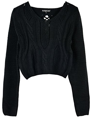 - PrettyGuide Women Eyelet Cable Knit Lace Up Crop Long Sleeve Sweater Crop Tops Black