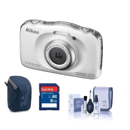 Nikon Coolpix W100 Point & Shoot Camera, White - Bundle Came