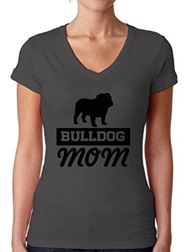 Bulldog V-neck (Awkward Styles Women's Bulldog Mom V-Neck T Shirts For Women English Bulldog Mom V-Neck T Shirts For Women Charcoal M)